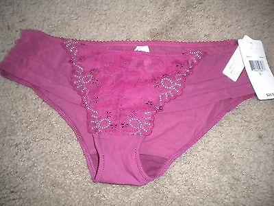 Underella Sheer Raspberry Mesh Bikini Panty Lace   Floral Embroidery Nwt L 7