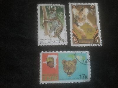 Briefmarken - Wildtiere - Löwe - Tiger - Leopard - Zaire - Nicaragua (3 Stück)