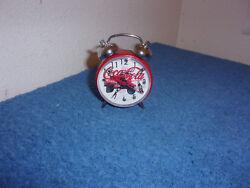 BRAND NEW...COCA-COLA 2.25 DIAMETER MINI WIND-UP ALARM CLOCK  #2