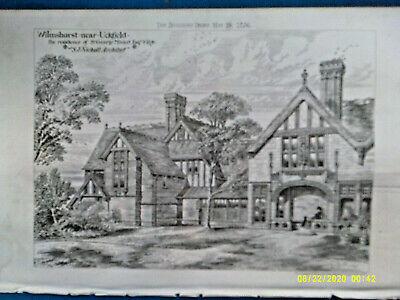 Architectural Print. WILMSHURST near UCKFIELD. 1876. VG.