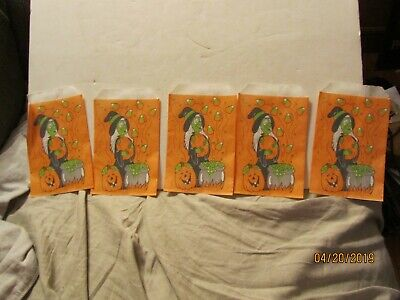 5 Vintage Witch w/Pumpkin Paper Candy Bag Made by Fun-World Carle Place NY USA](Halloween Candy New York)