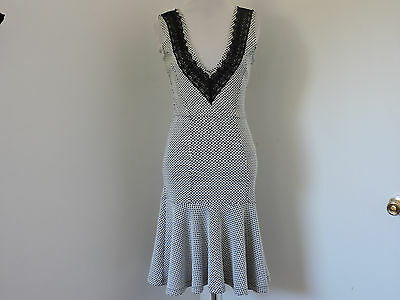 NEW FRENCH CONNECTION BLACK WHITE STRETCH SLEEVELESS FIT & FLARE DRESS SZ 4