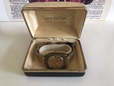 Vintage 1970's Carronade Incabloc Automatic Watch With Rare Watch Bracelet