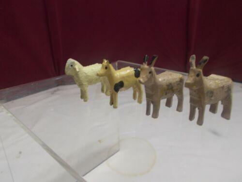 🎅  Four (4) Vintage Erzgebirge ANIMALS - Figures - Putz Animals 🎄