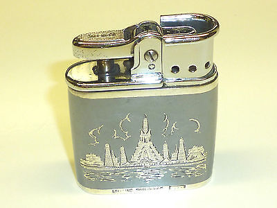 """RONSON """"WHIRLWIND"""" LIGHTER W. STERLING SILVER CASE (SIAM) - 1941-1956 -ENGLAND"""