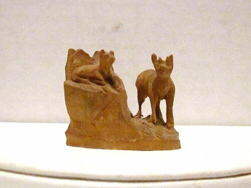 Miniature Wood Carving of Mountain Goats on Rocks,Handmade