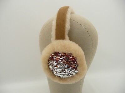 (UGG Sparkle Camo Beige Sequin Shearling Earmuffs)