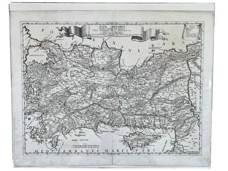 Asia Minor Turkey Cyprus 1686 Cantelli / Rossi Original Antique Map