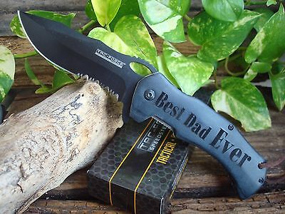 Engraved Knife, *Best Dad Ever, Heart* Gift, SPRING ASSISTED Daddy