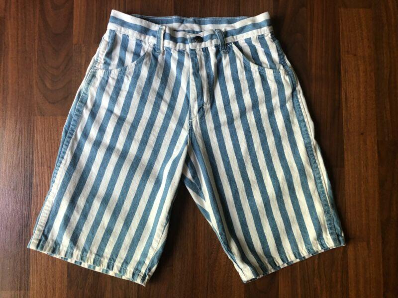 "Vintage USA-Made Wranglers Blue & White Stripe Denim Jean Shorts - 25"" x 10"""