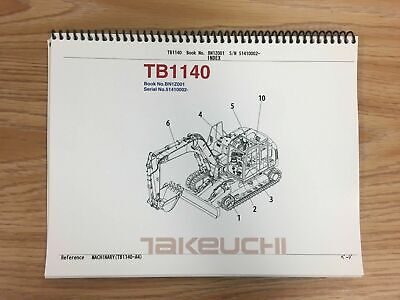 Takeuchi Tb1140 Parts Manual Sn 51410002 And Up Free Priority Shipping