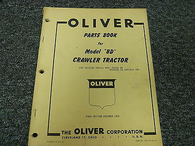 Oliver Model Bd Crawler Tractor Dozer Parts Catalog Manual Book