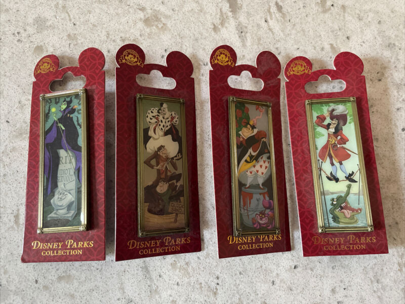 RARE FULL SET Of 4 Haunted Mansion Villains Stretching Portraits Pins Parks
