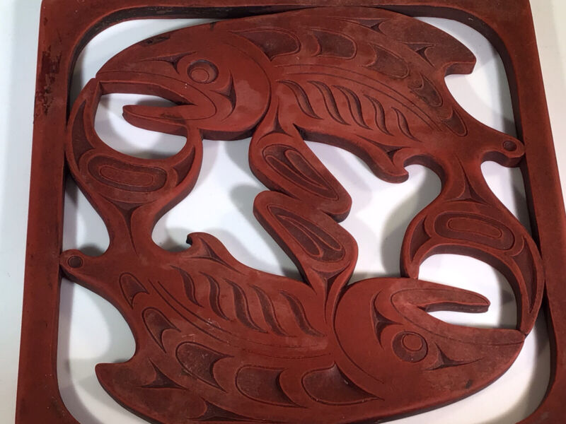 Pacific Northwest Coast First Nations Tribal Salmon Indigenous Design Trivet