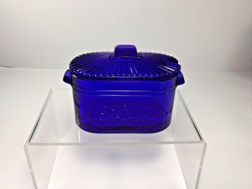 Imperial Glass, Cobalt Glass, Wash Boiler Condiment Dish w Cover, Made n the USA