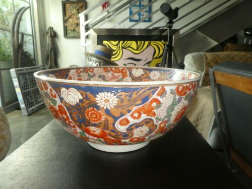 HUGE ANTIQUE JAPANESE IMARI PUNCH BOWL SIGNED