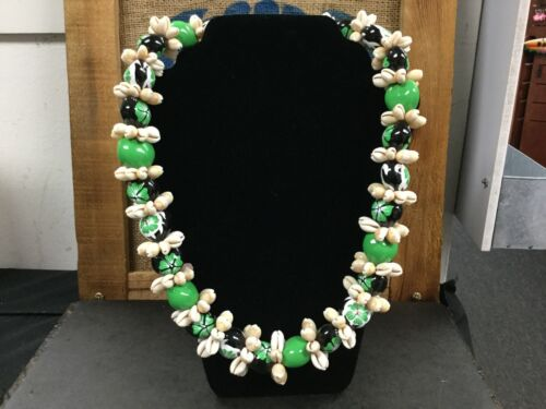Kukui Nut Lei  with Cowrie Shell  Necklace Green, Free shipping