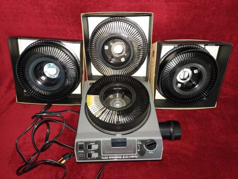 Kodak Ektagraphic III ATS Projector Slide Projector with 4 Carousel Trays READ