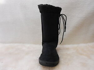 Ugg-Boots-Tall-Synthetic-Wool-Lace-Up-Size-10-Ladys-8-Mens-Colour-Black