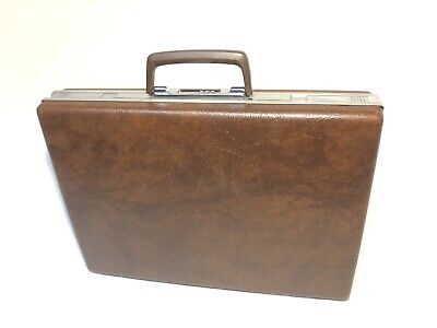 VINTAGE SAMSONITE CLASSIC 100 BRIEFCASE ATTACHE BROWN SLIMLINE COMBO LOCK HANDLE