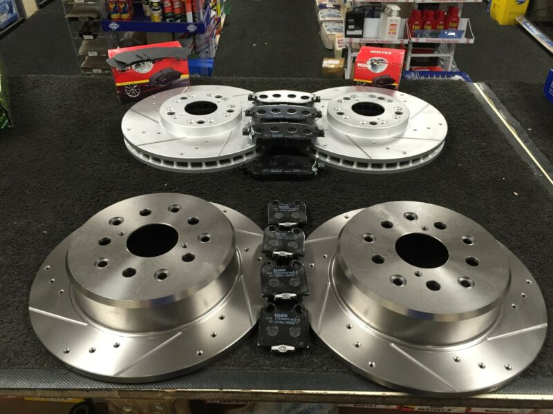 LEXUS GS430 DRILLED GROOVED BRAKE DISC  & MINTEX PADS 1993-2005