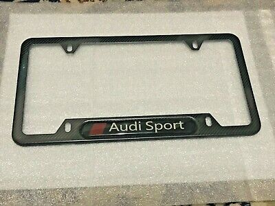 Chrome Stainless Steel Front Rear Emblem License Plate Frame Cover - Audi Sport