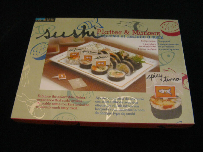5 Pieces Sushi Platter & Markers by Joie de Vivre Designed in Japan