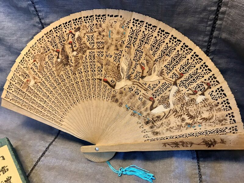 Set of 2 Vintage Chinese Asian Wood Folding Fans Birds & Dragons W/ Silk Boxes