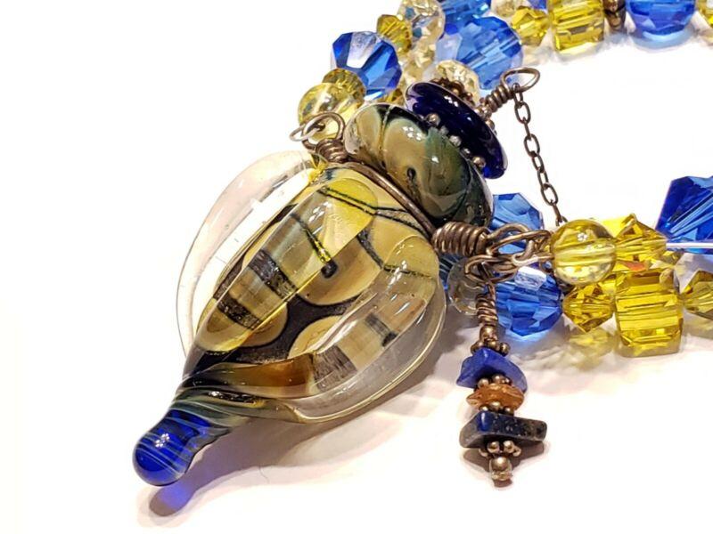 Blown Art Glass Bottle pendant necklace bead charm-Aromatherapy Perfume Murano