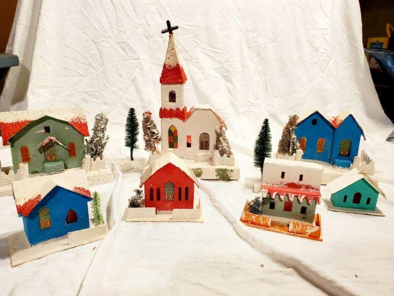 7 Vintage Japan Putz Mica Cardboard Village Christmas Houses and Church
