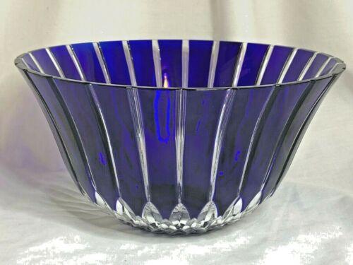 Ajka Hungarian crystal cobalt blue Alva or Castille pattern large salad bowl
