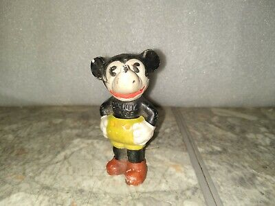 Vintage Antique 1930s Mickey Mouse Figurine Walt E Disney Ceramic Bisque