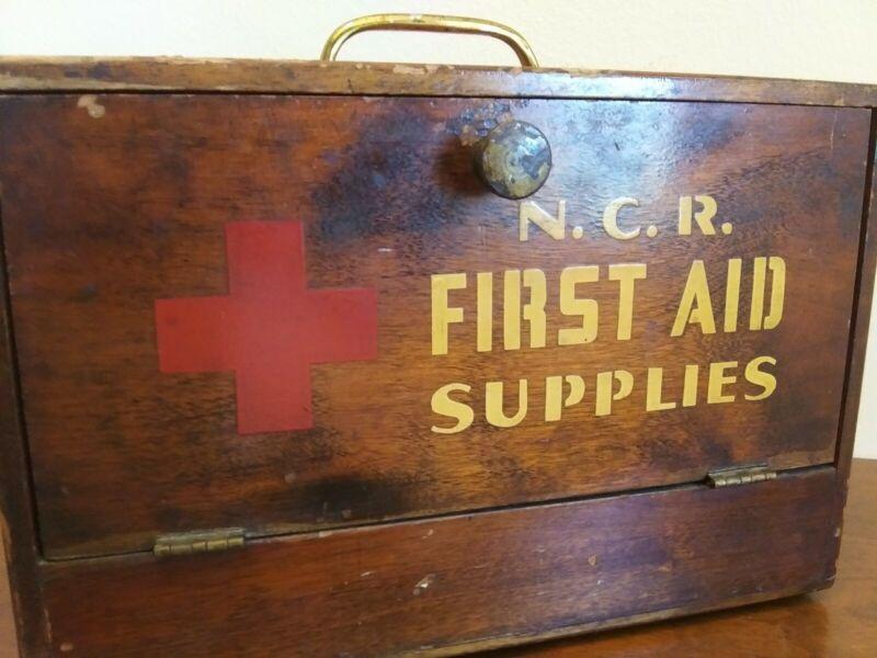 Antique Vintage N. C. R. First Aid Supplies Wood Box Case Medical Supplies
