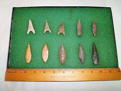 Authentic Ancient Western Sahara Arrowhead Collection of 10 with Case