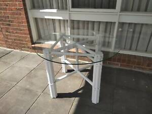 Cane base Dining or Kitchen table 107cm H73.5cm
