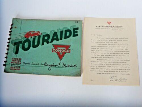 VTG 1941 Conoco Touraide Travel Guide & Original Letter From Conoco Company.