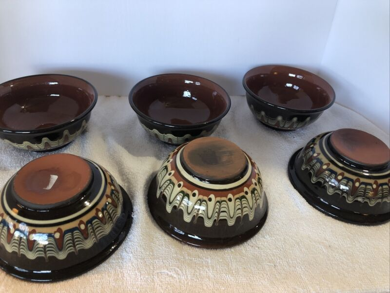 Bulgarian Pottery Soup Bowl / Cereal Handle Troyan Terracotta Brown Peacock Eyes