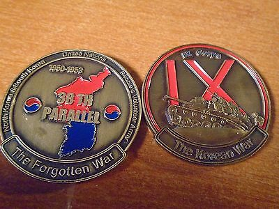 The Korean War The Forgotten War 38th Parallel IX Corps Challenge Coin w Case