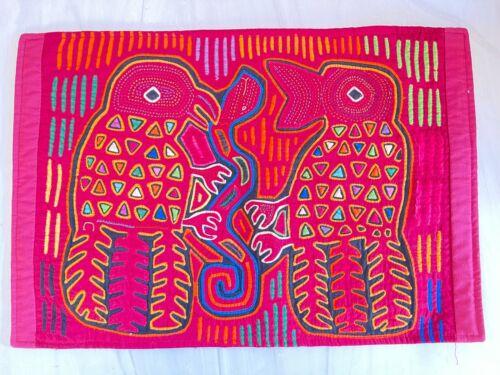"KUNA INDIAN MOLA ART MADE IN SAN BLAS ISLANDS REVERSE APPLIQUÉ TAPESTRY 17.5""x12"