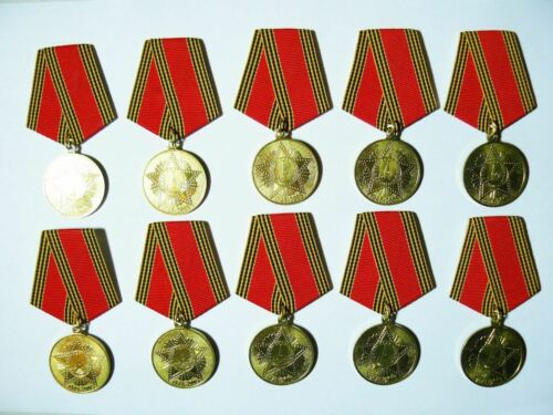 Lot 10 Award Veteran Anniversary Medals 60th Year of WW2 Victory USSR  1