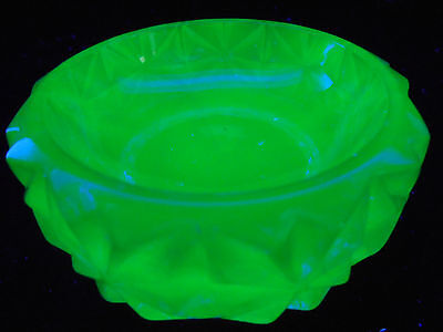 Blue Vaseline glass salt dip cellar celt star pattern Uranium candle holder art