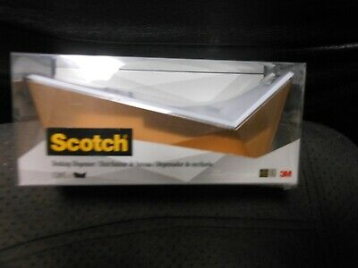 Scotch Desktop Tape Dispenser Metallic Gold White 1 Core - Refillable