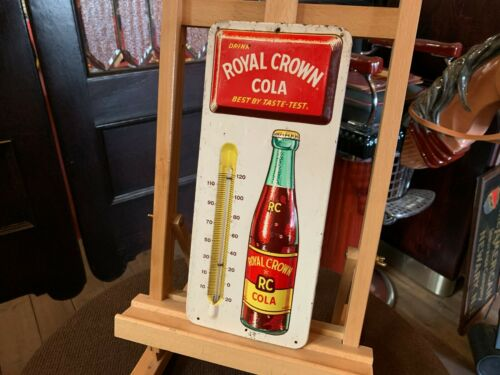 """13"""" Tin Embossed Royal Crown Cola Tin Thermometer Advertising Sign """"Watch Video"""""""