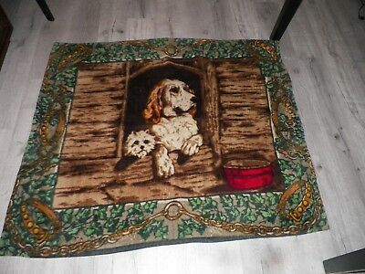 "VINTAGE VICTORIAN HORSE HAIR LAP BLANKET DOG & CAT DESIGN 57 1/2"" x 48 1/2"""