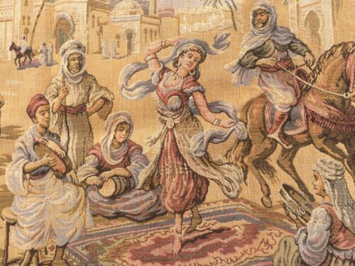 Tapestry from the Middle East - Belly Dancer and Musicians Street Scene