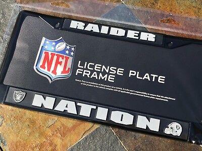 1 Raider Nation Oakland Raiders Black Metal Vehicle License Plate Frame