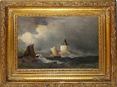 Ölgemälde - Fauerholdt, Viggo (1832-1883) Küstenlandschaft mit Wachturm