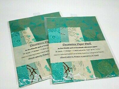 (2) Handmade Silk Screened Decorative Paper Pack 10 sheets 5 designs 8.5