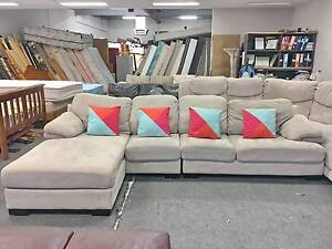 DELIVERY TODAY BEAUTIFUL CREAM L corner lounge sofa SALE Belmont Belmont Area Preview