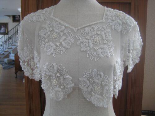 Rare Vtg White Beaded Pearl Floral Evening Collar Cruise Wedding Sheer Capelet